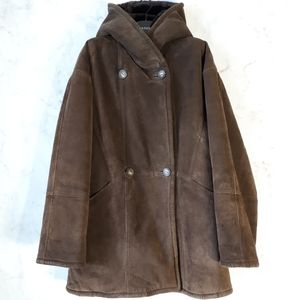 Vntg Brown Suede Faux Fur Lined Hooded Coat Medium